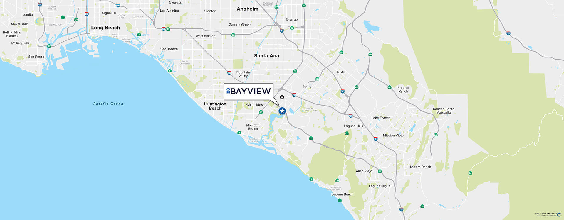 100 Bayview location map